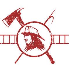 Grunge emblem of fire department with fireman vector