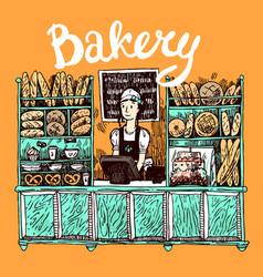 hand drawn sketch interior of bakery shop vector image vector image