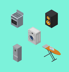 Isometric device set of stove music box cloth vector