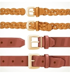 Leather belts with buckles buttoned and unbuttoned vector