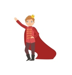 Little boy in red cape dressed as fairy tale vector