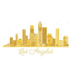 los angeles city skyline golden silhouette vector image
