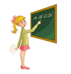 Schoolgirl at blackboard vector