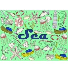 Sea line art design vector