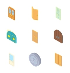 Security doors icons set cartoon style vector