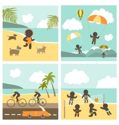 Set icon sport people on the sea vector image vector image