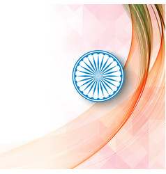 Shiny national flag with asoka wheel on white vector