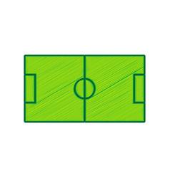 Soccer field lemon scribble icon on white vector