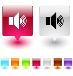 sound square button vector image