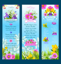 Spring wishes banners and flowers vector