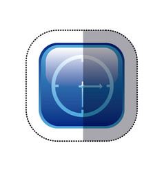 sticker blue square frame with wall clock icon vector image