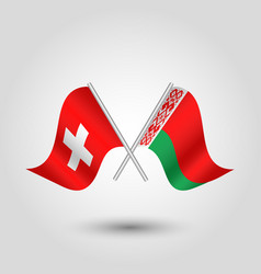 Two crossed swiss and belarusian flags vector