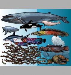 Underwater beings vector
