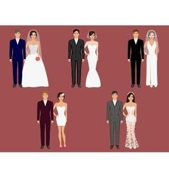 Wedding apparel garment different costumes vector
