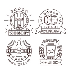 Whisky logo set thin line style alcohol vector