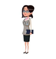 woman doctor with clipboard physician hospital vector image