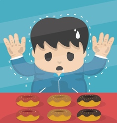 Young dieting man stand in sweet shop vector