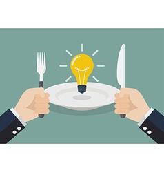 Businessman eating an idea vector image
