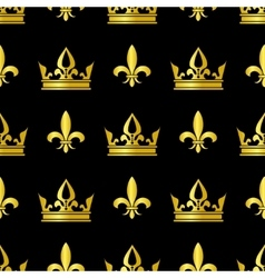 Golden crowns and fleur de lis seamless vector image