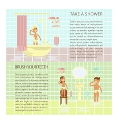 Children on the bathroom interior vector image
