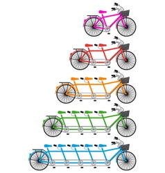 Tandem team bikes bicycle set vector