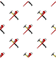 construction pattern hammer wrench spanner in flat vector image