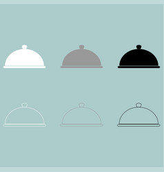 White grey black cap for dish icon vector