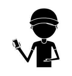 Delivery worker with cellphone avatar character vector