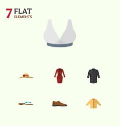 Flat dress set of elegant headgear beach sandal vector