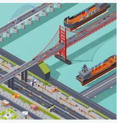 bridges isometric composition vector image