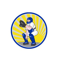 Baseball catcher catching side circle vector