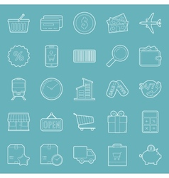 Sales and shopping thin lines icons set vector