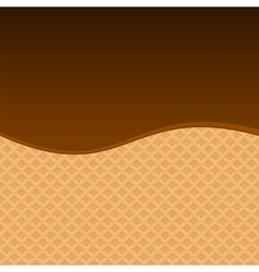 Chocolate melted on wafer background vector
