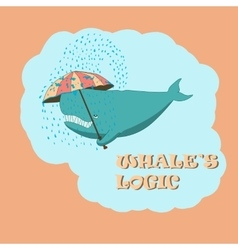 Whale with an umbrella vector