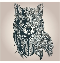 Ornamental decorative wolf predator pattern vector