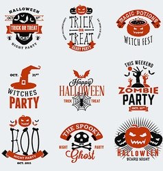 Set of vintage happy halloween badges stickers vector