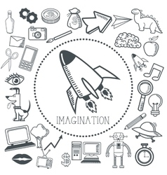 Doodle icon design imagination icon draw concept vector