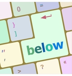 Below word on keyboard key notebook computer vector