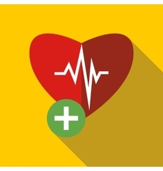 Heartbeat icon in flat style vector