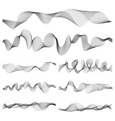 Abstract music sound waves pulse set vector image vector image