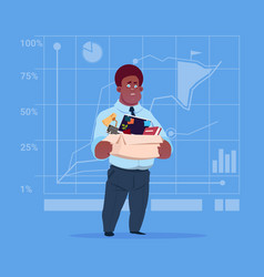 African american business man hold box with office vector