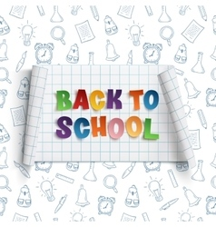 Back to school curved banner on squared paper vector