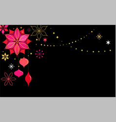 black christmas card background with flowers vector image vector image