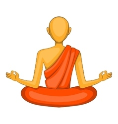 Buddhist monk icon cartoon style vector image
