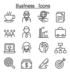 Business management icon set in thin line style vector
