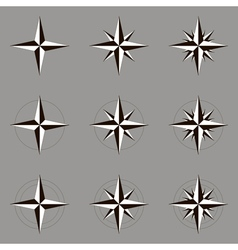 Collection of icons wind rose vector image