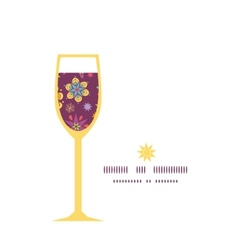 colorful stars wine glass silhouette pattern frame vector image
