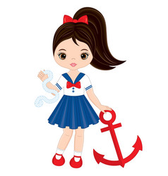cute little girl with anchor vector image vector image