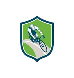 Cyclist bicycle rider shield retro vector