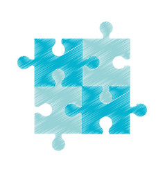 Drawing blue puzzle jigsaw piece vector